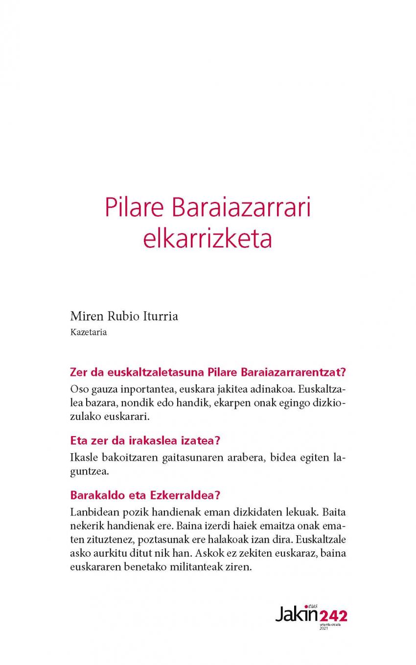 Pilare Baraiazarrari elkarrizketa