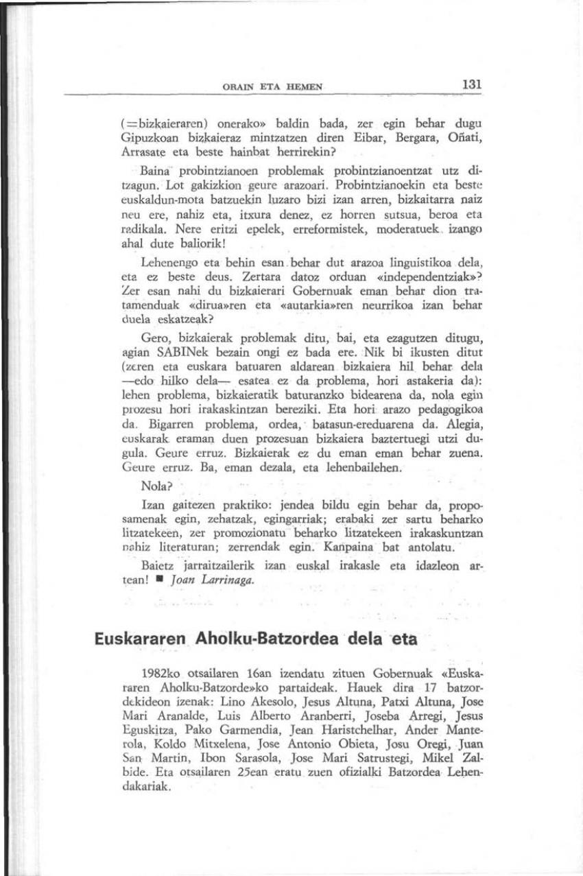 Euskararen Aholku-Batzordea dela eta (Orain eta Hemen)