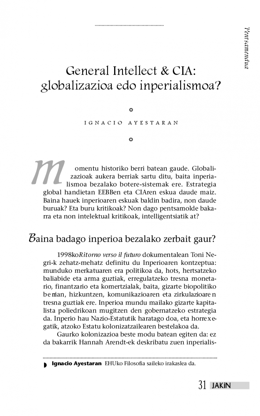 General Intellect & CIA: globalizazioa edo inperialismoa?