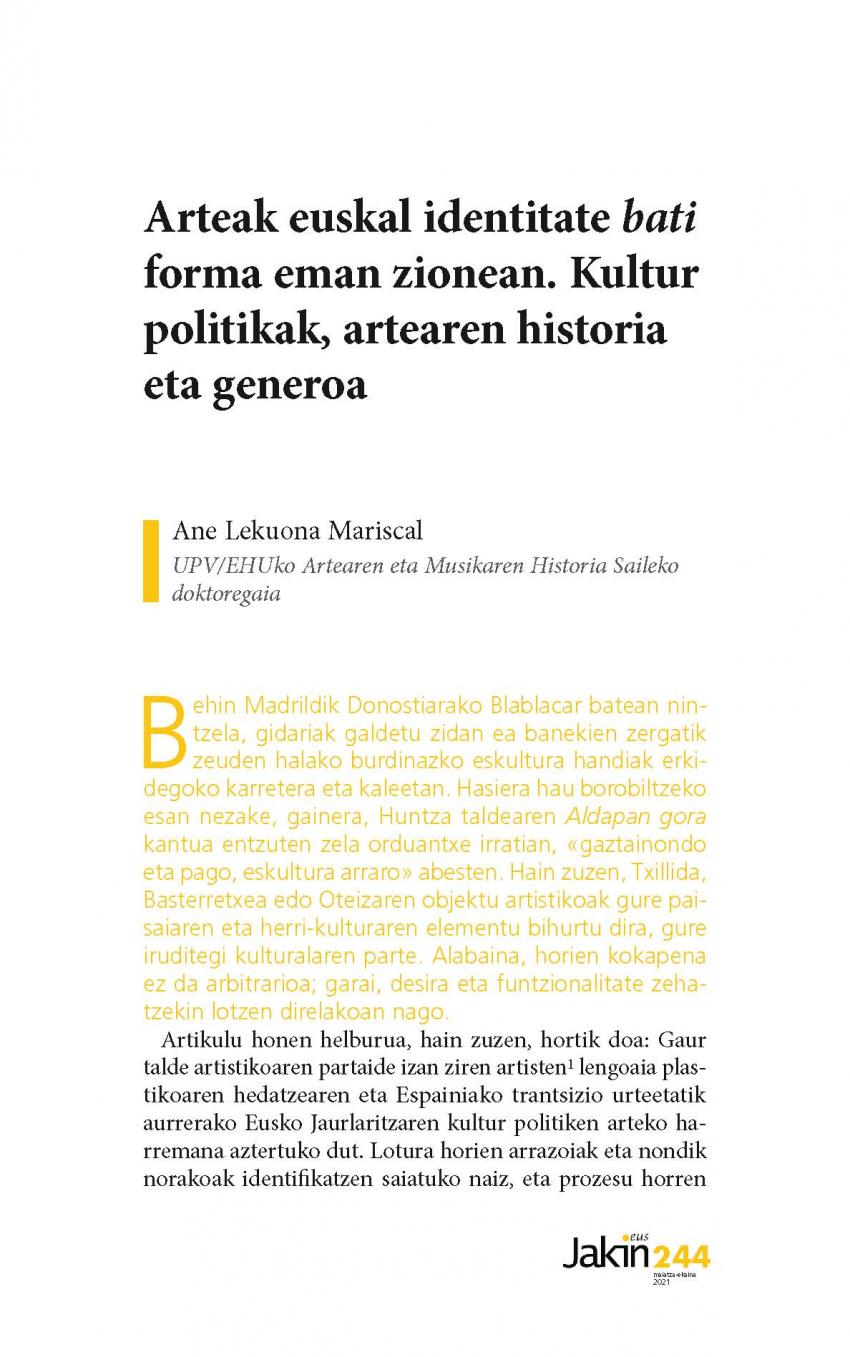 Arteak euskal identitate 'bati' forma eman zionean. Kultur politikak, artearen historia eta generoa