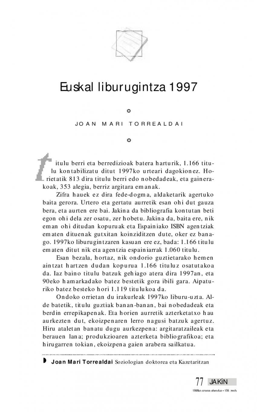 Euskal liburugintza 1997