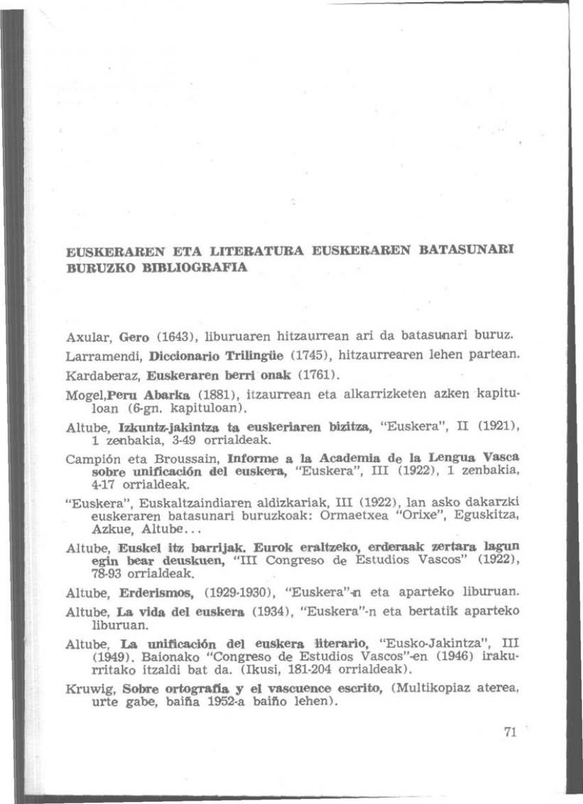 Euskeraren eta literatura euskeraren batasunari buruzko bibliografia