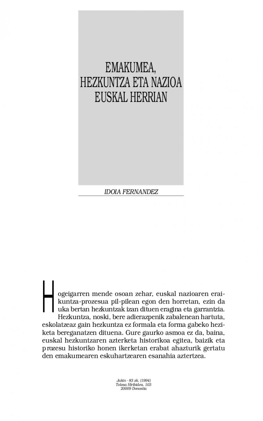 Emakumea, hezkuntza eta nazioa Euskal Herrian