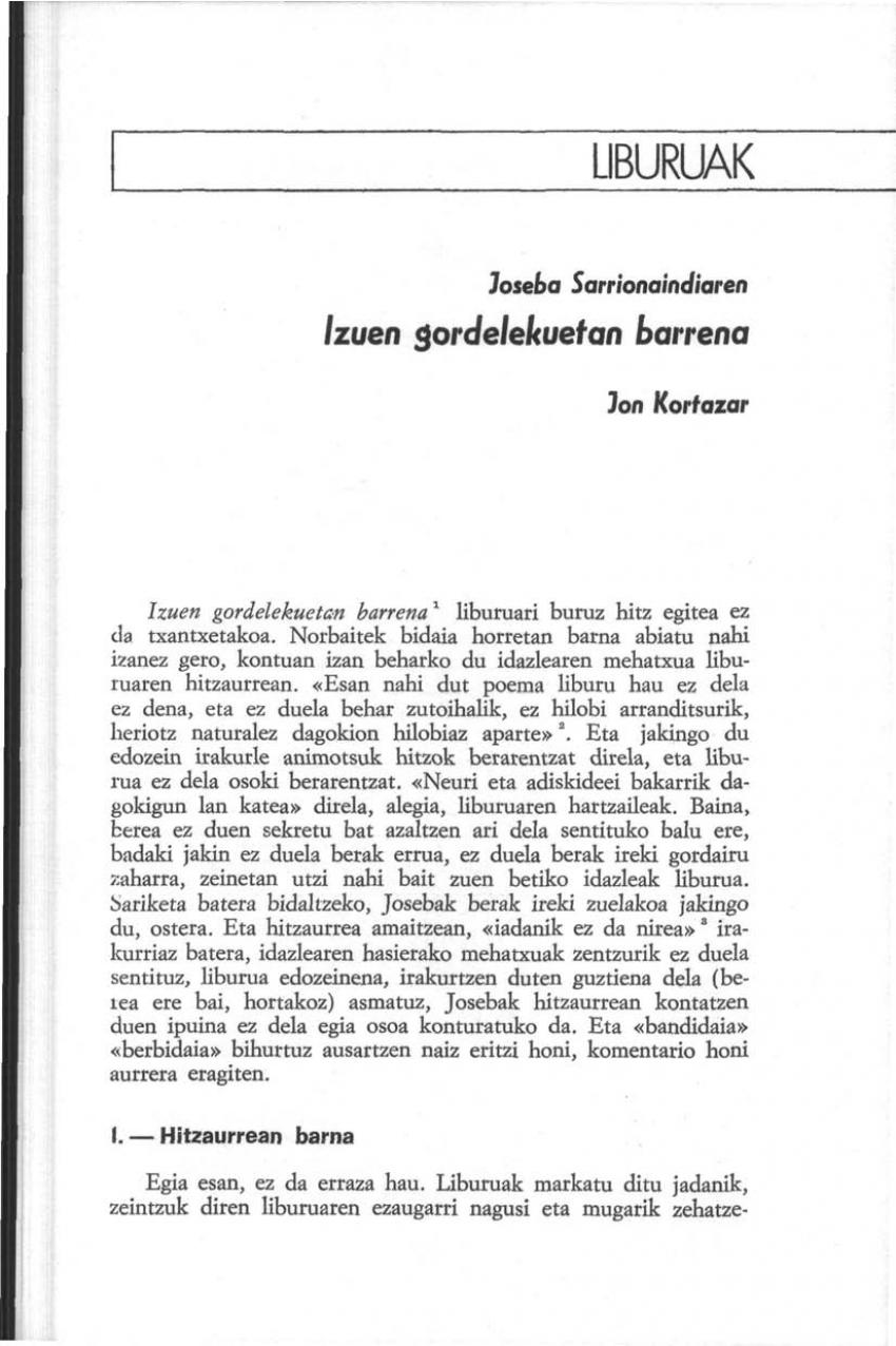 Joseba Sarrionaindiaren «Izuen gordelekuetan barrena»