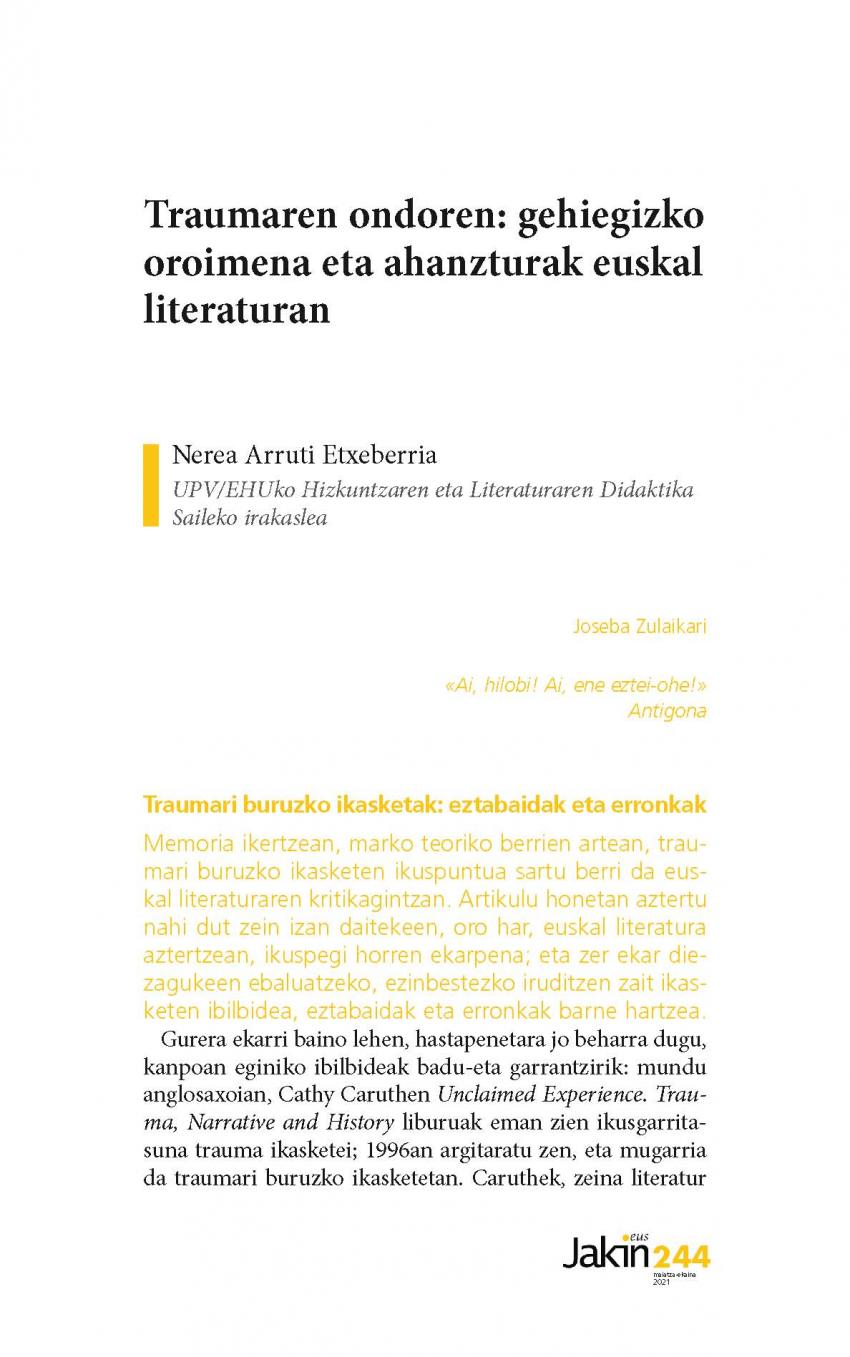 Traumaren ondoren: gehiegizko oroimena eta ahanzturak euskal literaturan
