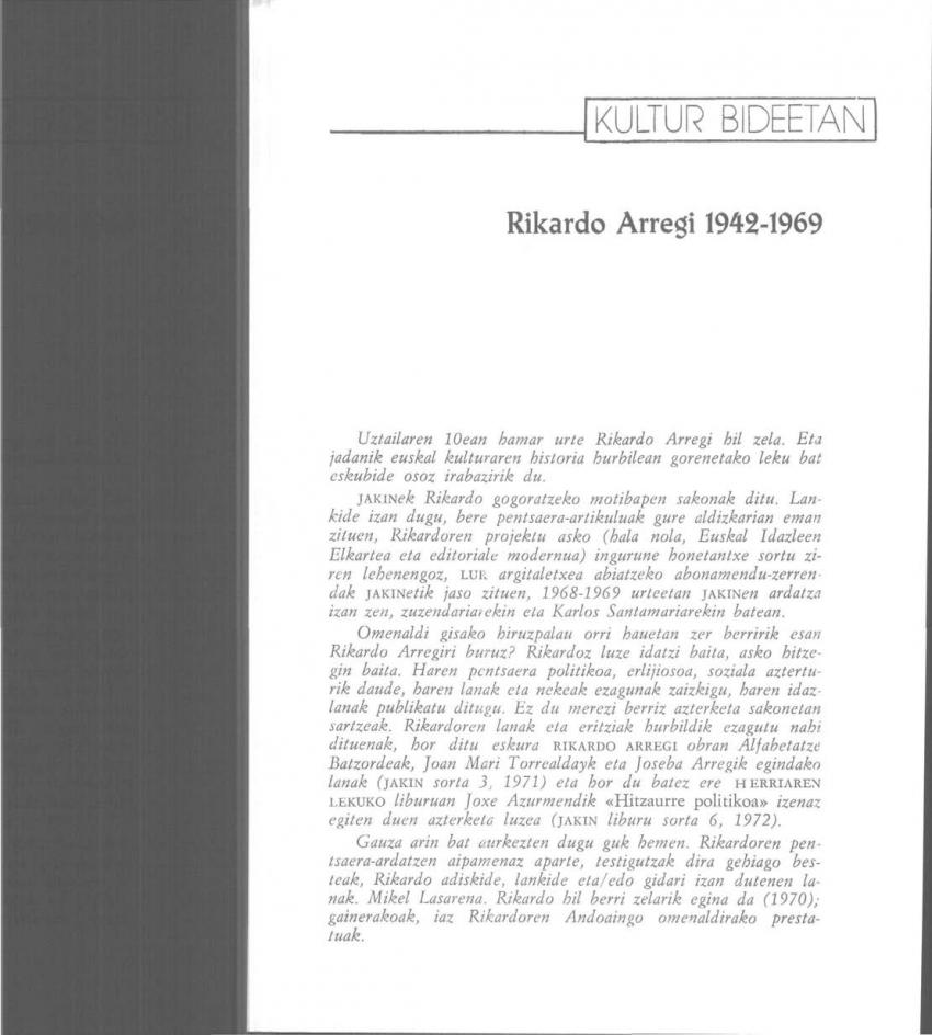 Rikardo Arregi, 1942-1969
