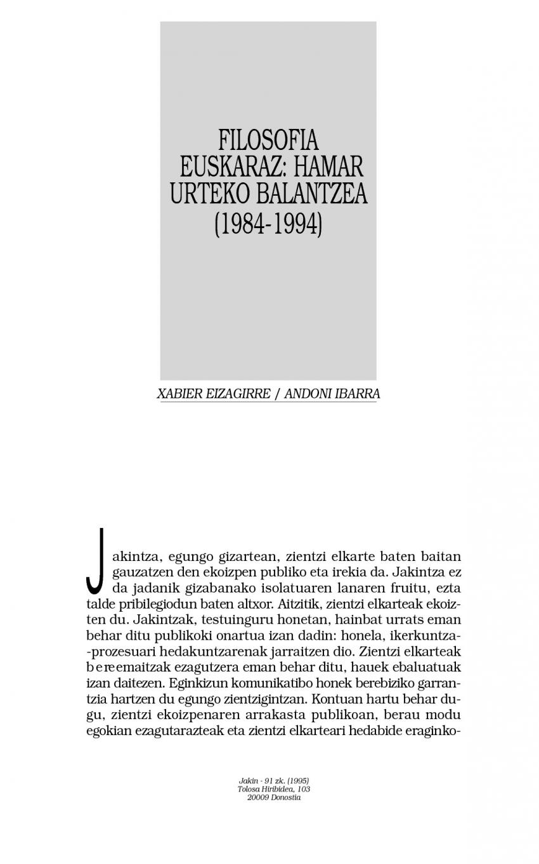 Filosofia euskaraz: hamar urteko balantzea (1984-1994)
