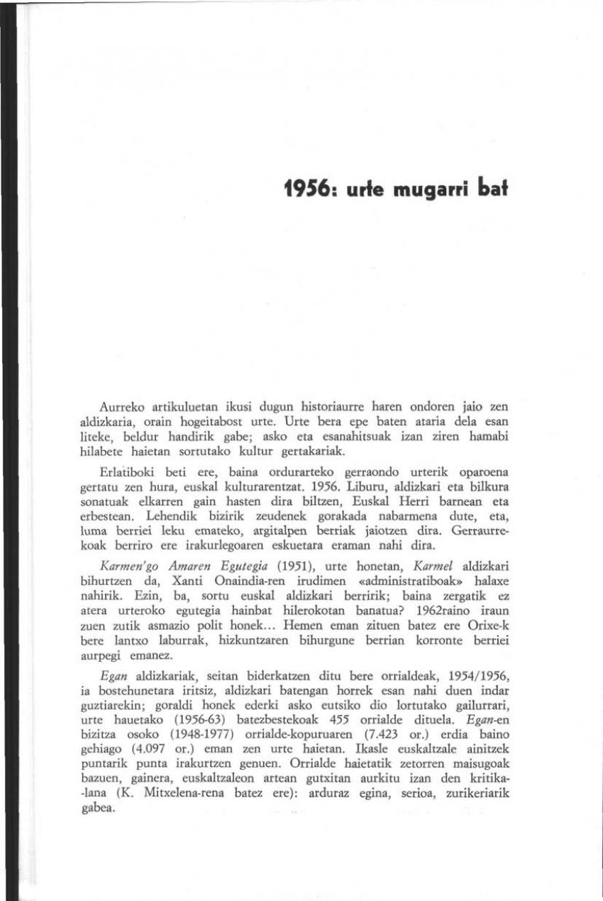 1956: urte mugarri bat