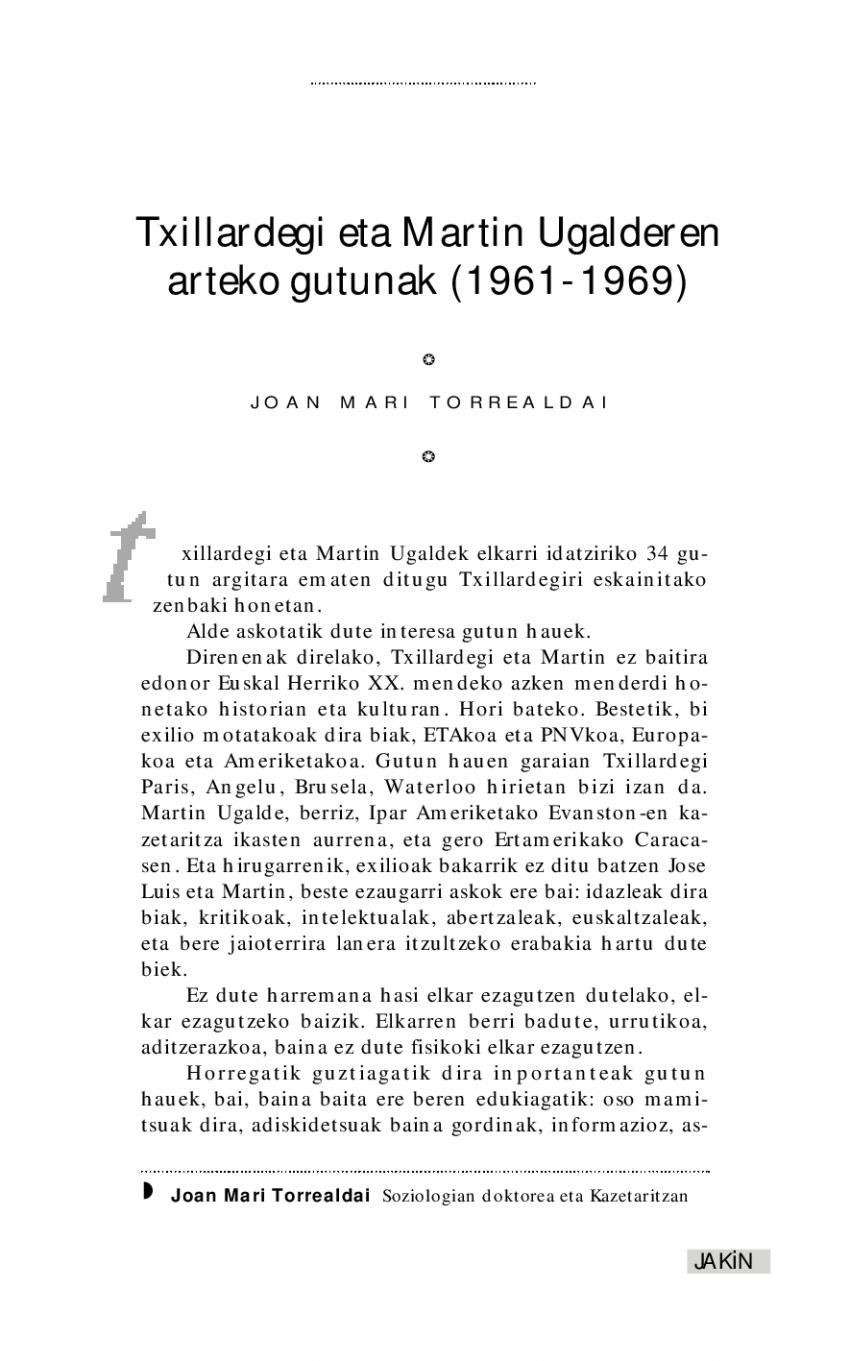 Txillardegi eta Martin Ugalderen arteko gutunak (1961-1969)