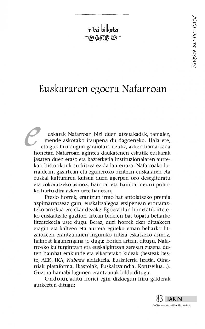 Iritzi bilketa: Euskararen egoera Nafarroan