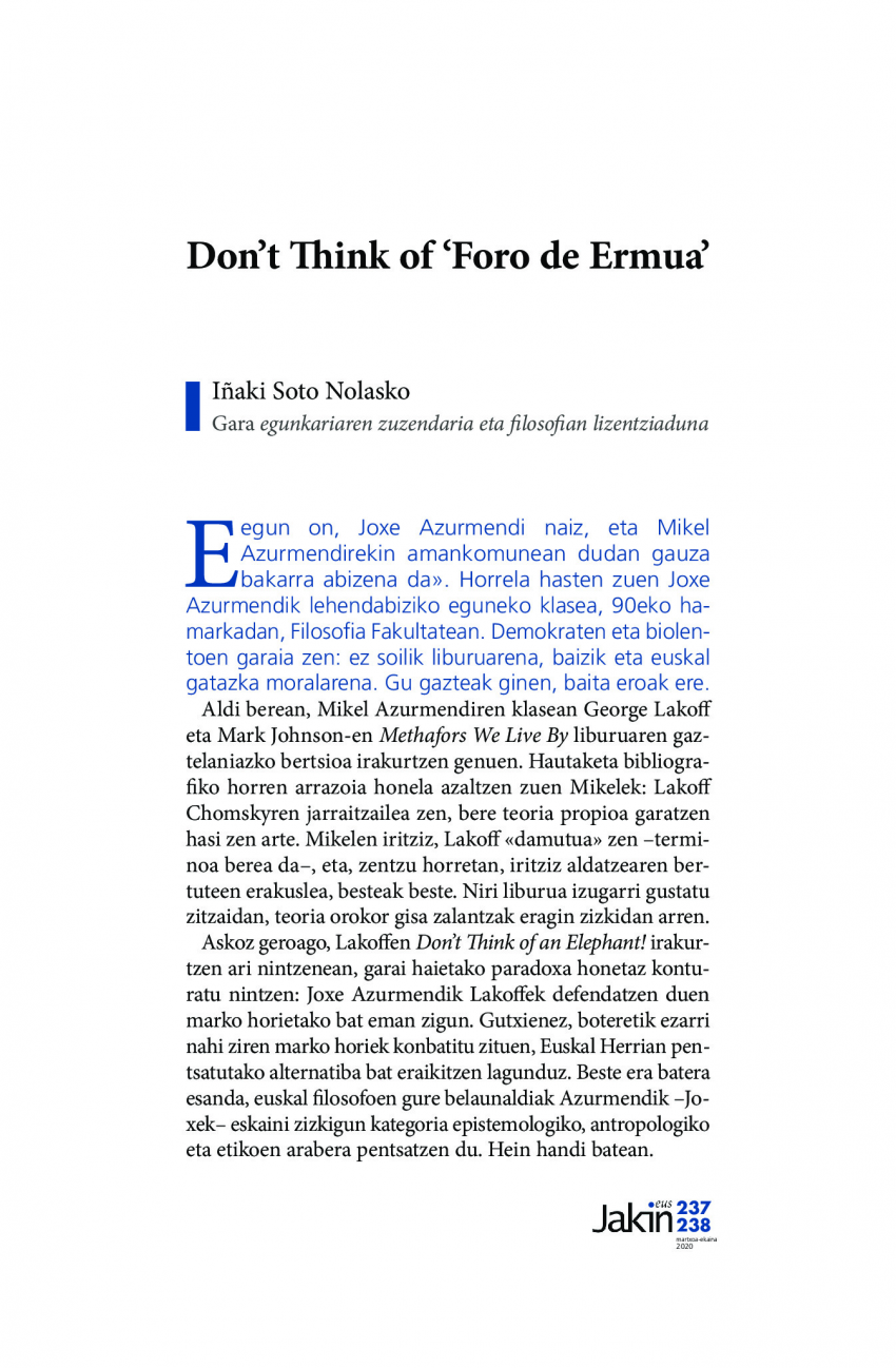 Don't Think of 'Foro de Ermua'