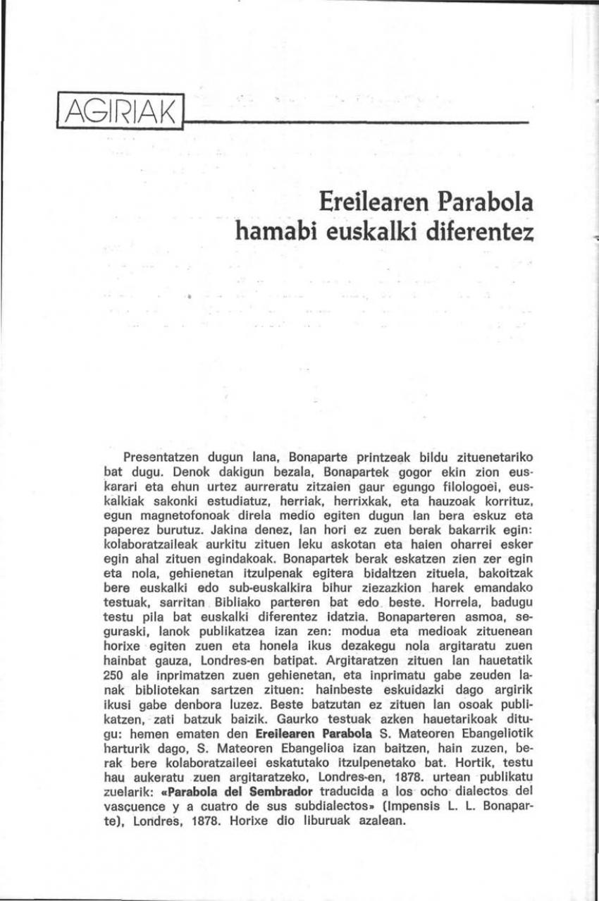Ereilearen Parabola hamabi euskalki diferentez