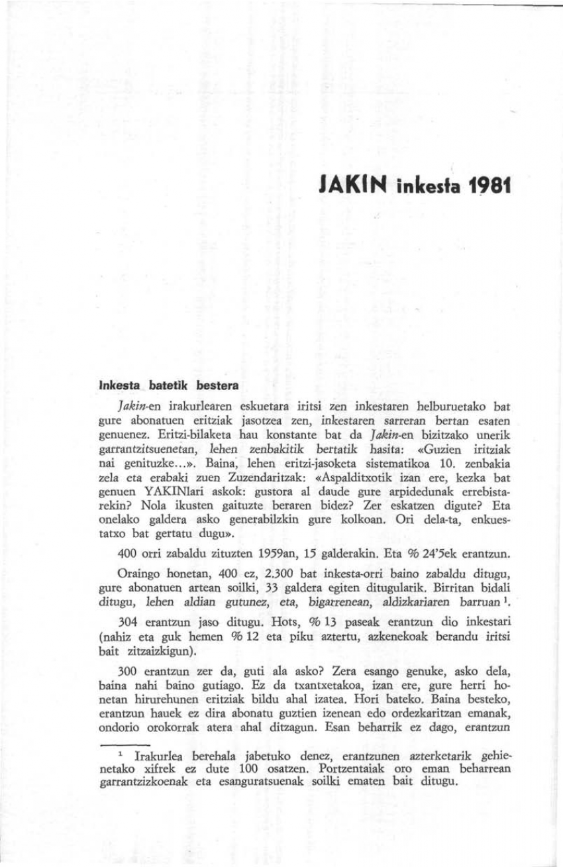 JAKIN inkesta 1981