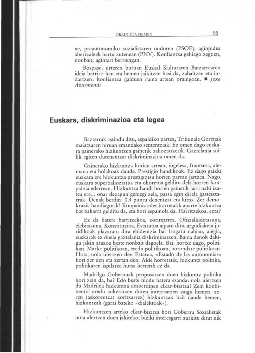 Euskara, diskriminazioa eta legea (Orain eta Hemen)