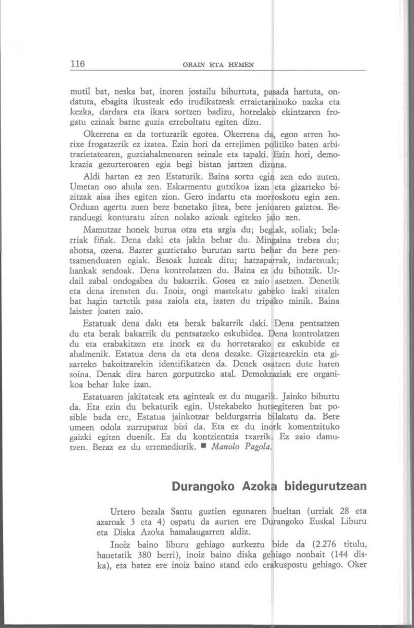 Durangoko Azoka bidegurutzean (Orain eta Hemen)