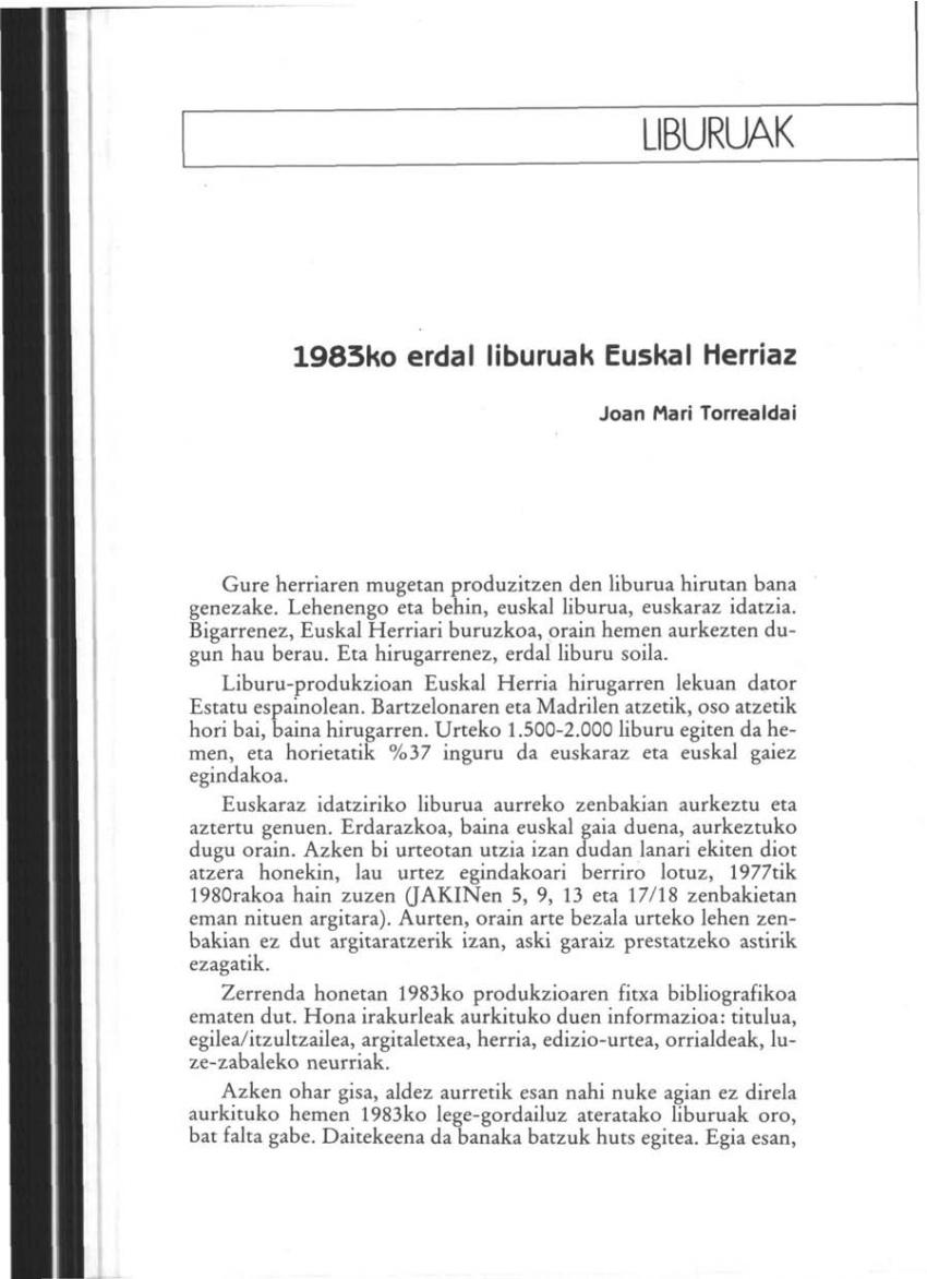 1983ko erdal liburuak Euskal Herriaz