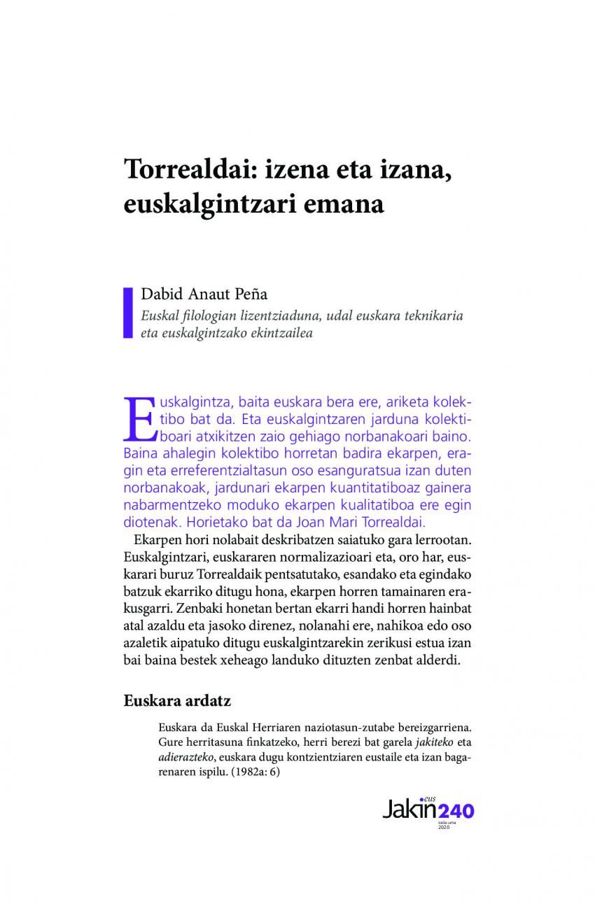 Torrealdai: izena eta izana, euskalgintzari emana