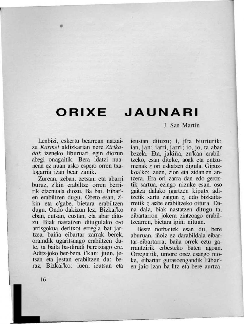 Orixe Jaunari