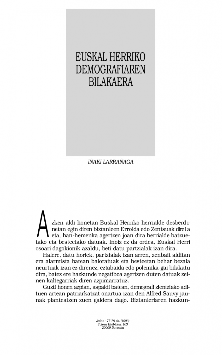 Euskal demografiaren bilakaera