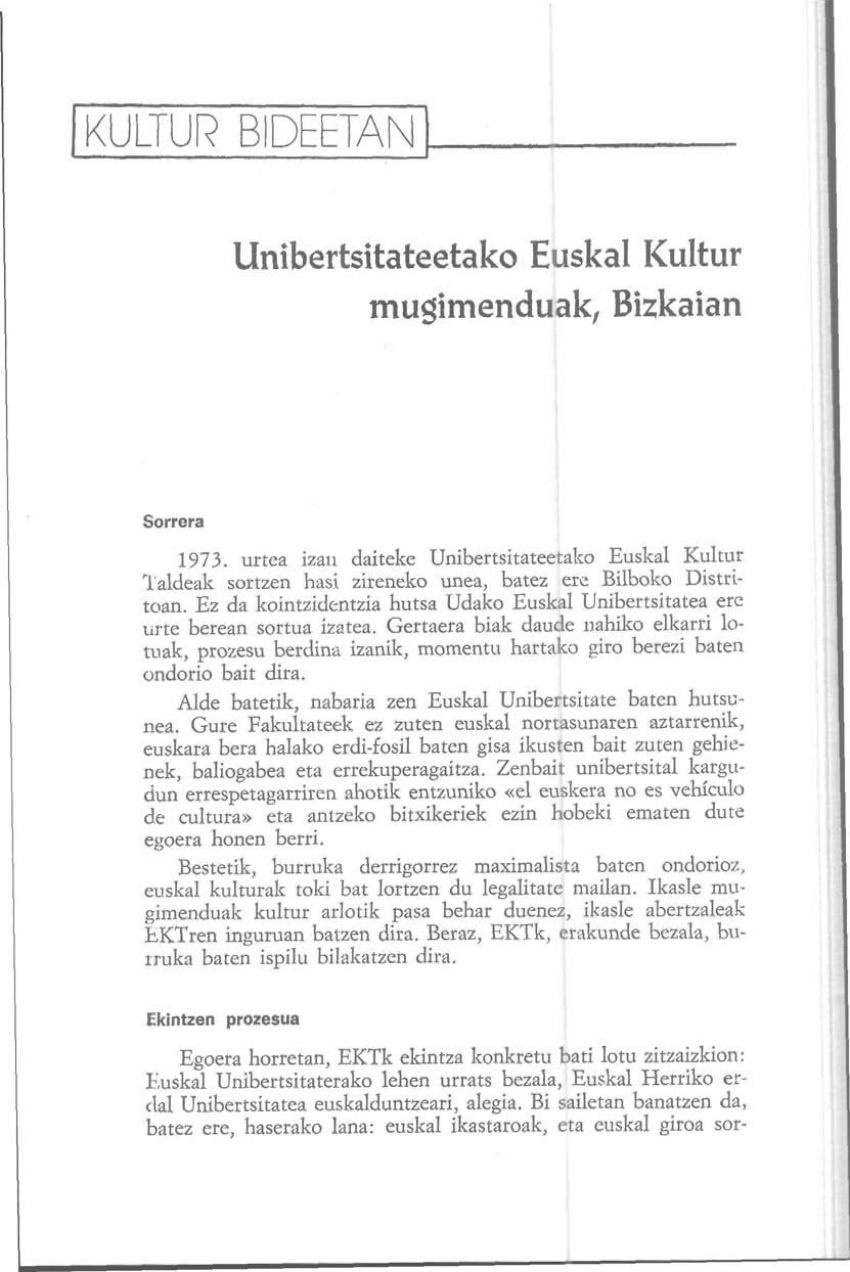 Unibertsitateetako Euskal Kultur Mugimenduak, Bizkaian
