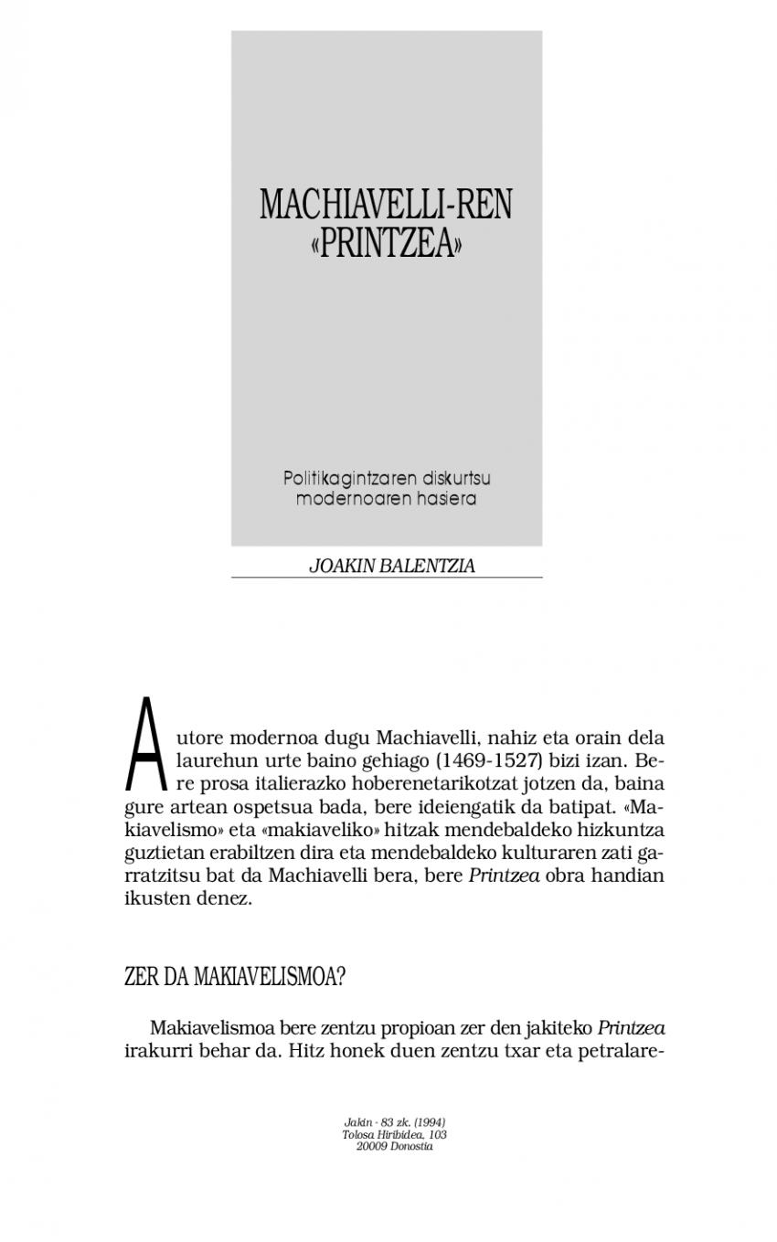 Machiavelli-ren «Printzea». Politikagintzaren diskurtsu modernoaren hasiera