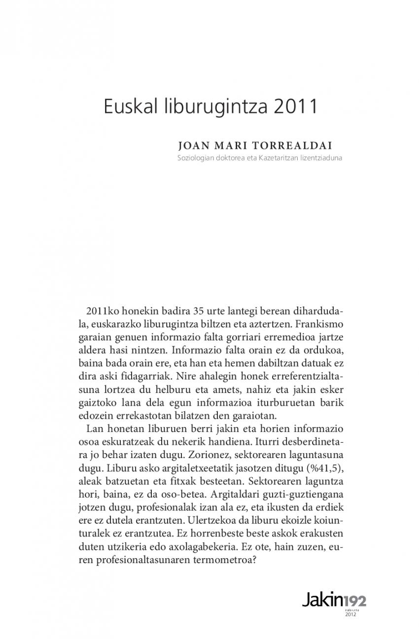 Euskal liburugintza 2011