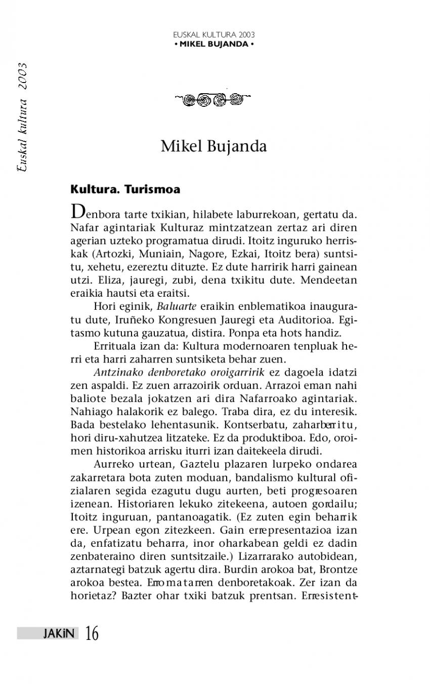 Euskal kultura 2003