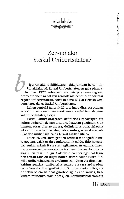 Iritzi bilketa: Zer-nolako Euskal Unibertsitatea?