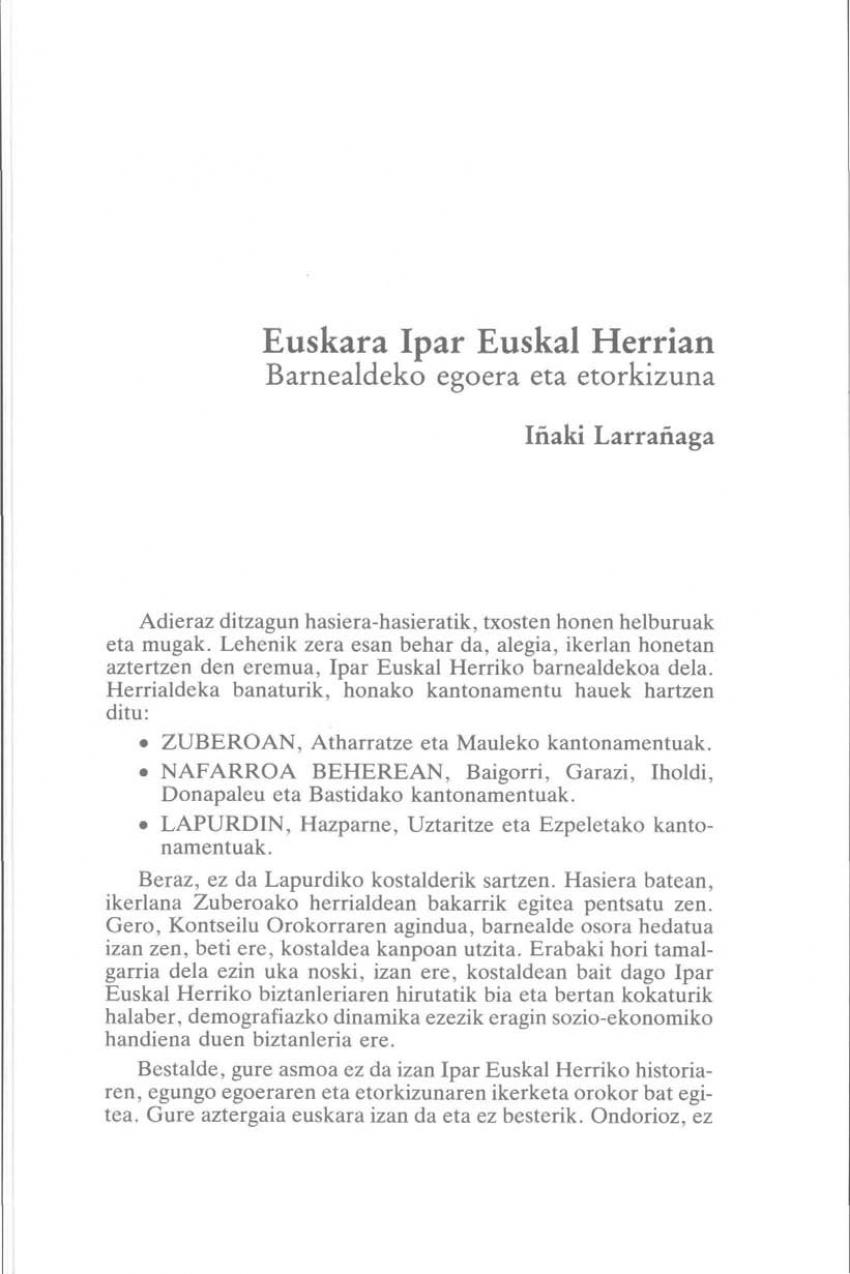 Euskara Ipar Euskal Herrian. Barnealdeko egoera eta etorkizuna