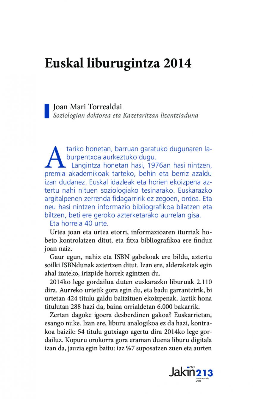 Euskal liburugintza 2014