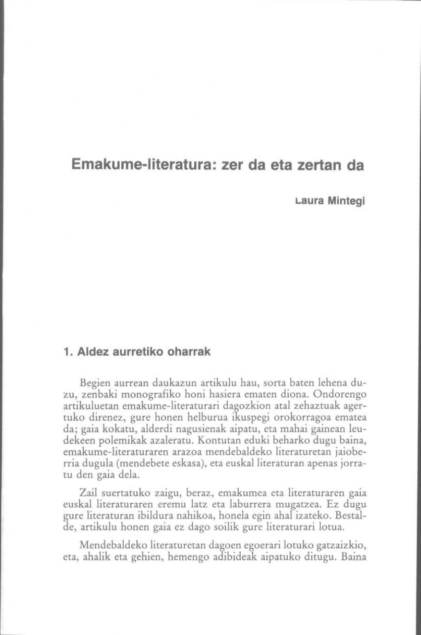 Emakume-literatura: zer da eta zertan da