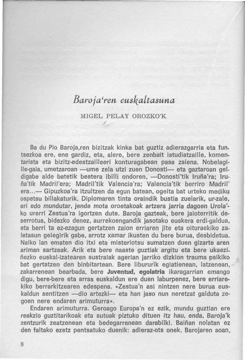 Baroja'ren euskaltasuna