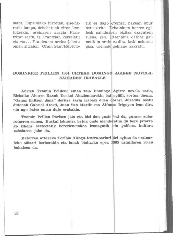 Dominique Peillen 1964 urteko Domingo Agirre Novela-sariaren irabazle