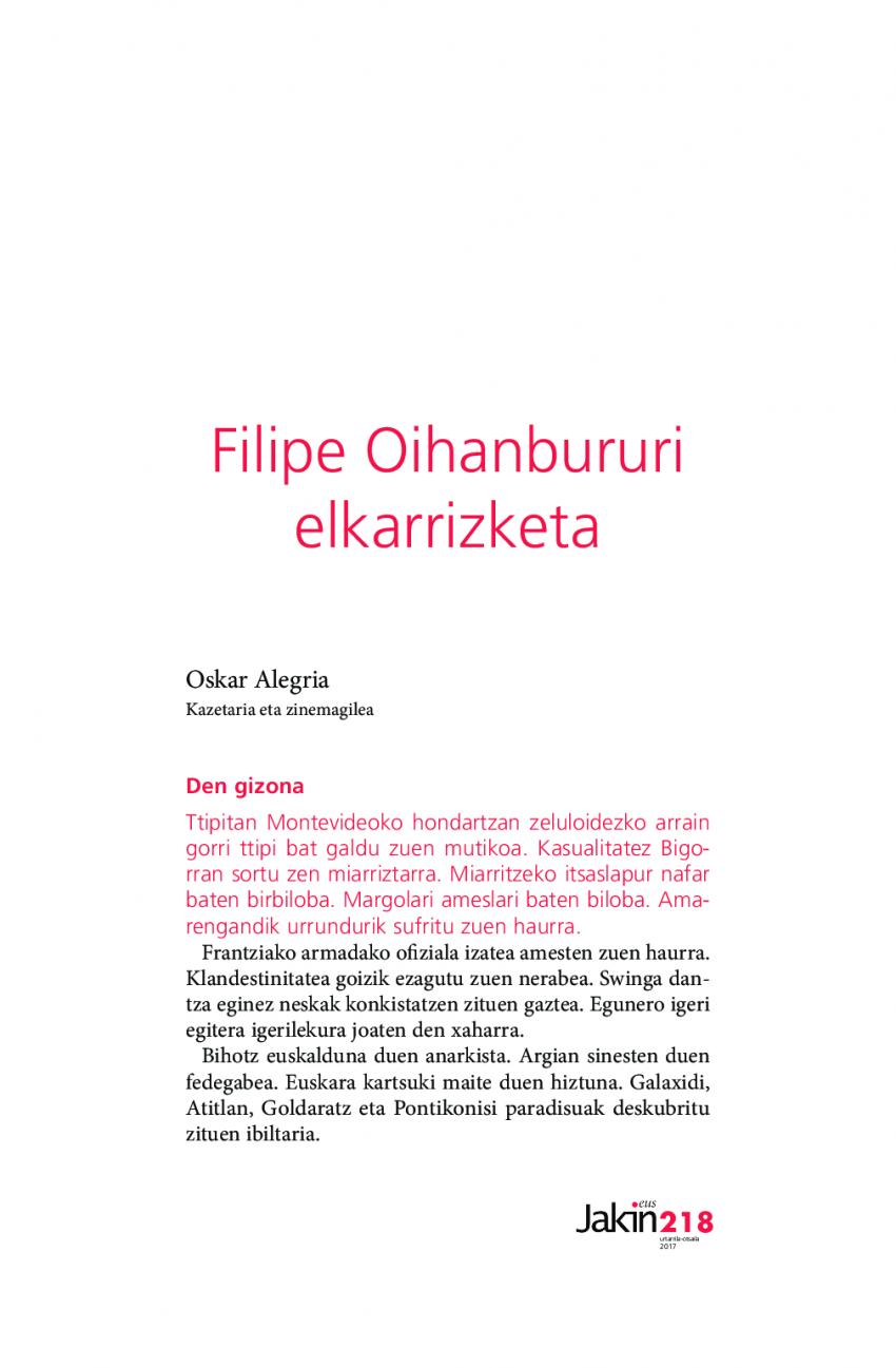 Filipe Oihanbururi elkarrizketa