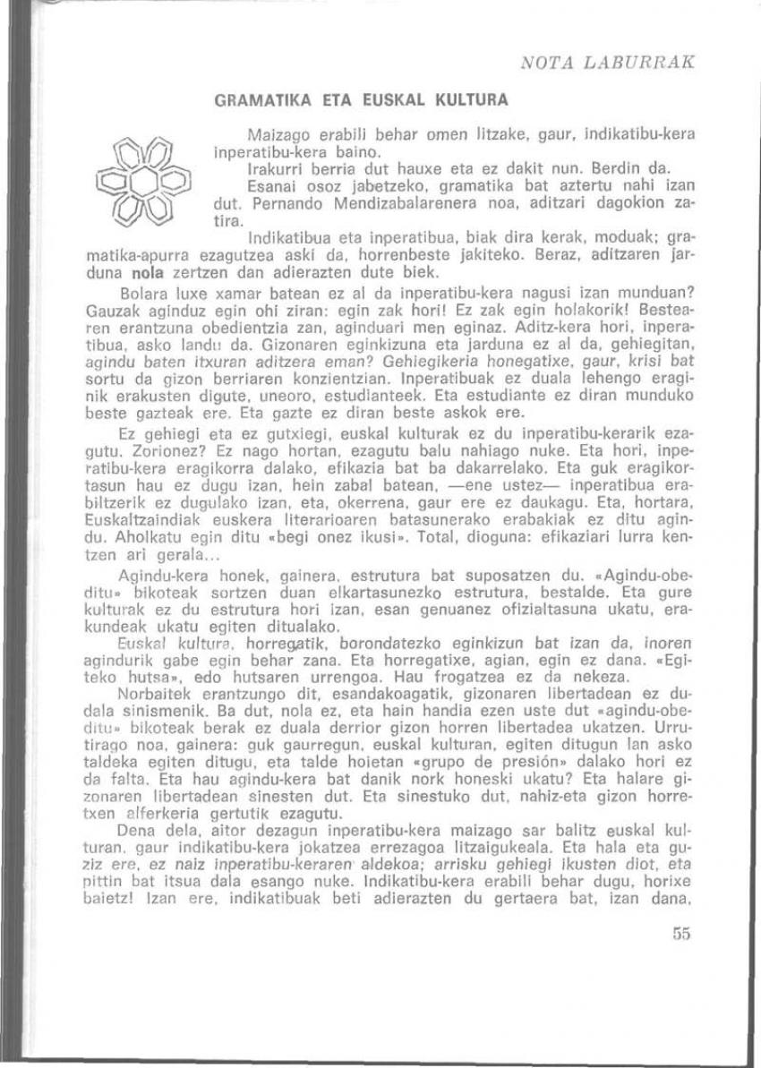Gramatika eta euskal kultura (Nota laburrak)