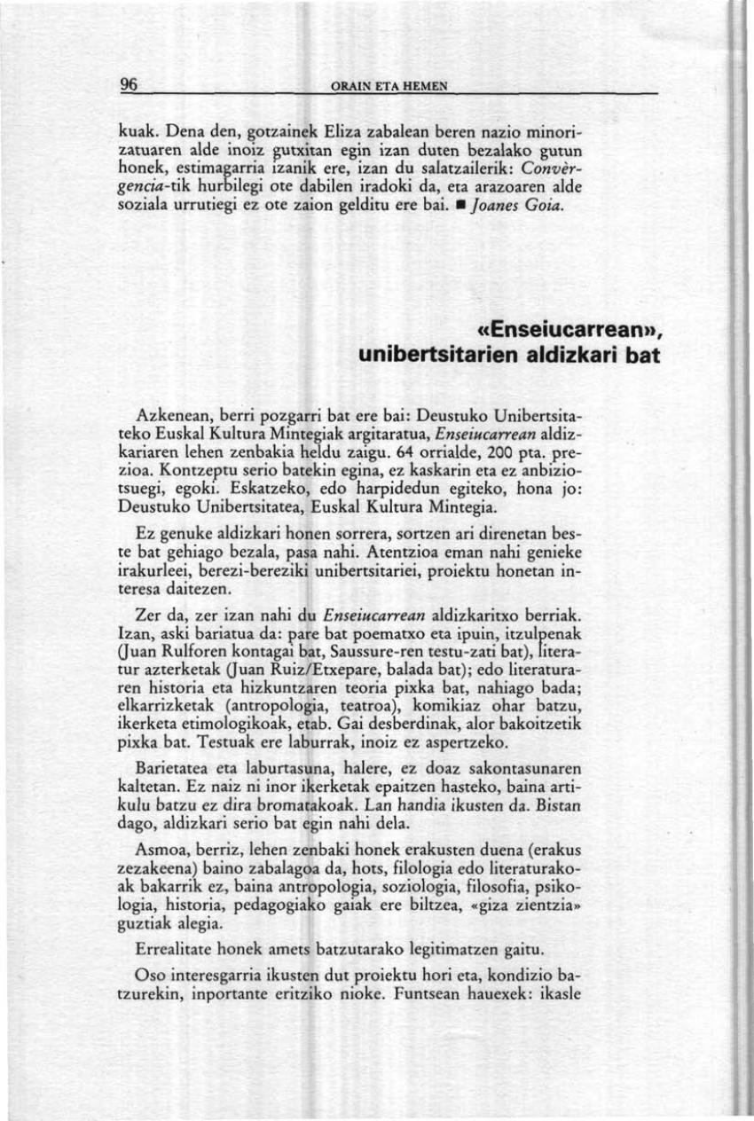«Enseiucarrean», unibertsitarien aldizkari bat (Orain eta Hemen)