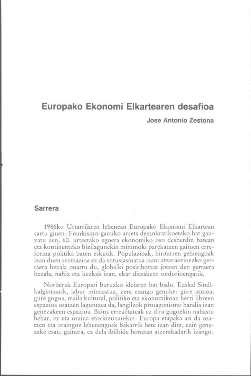 Europako Ekonomi Elkartearen desafioa