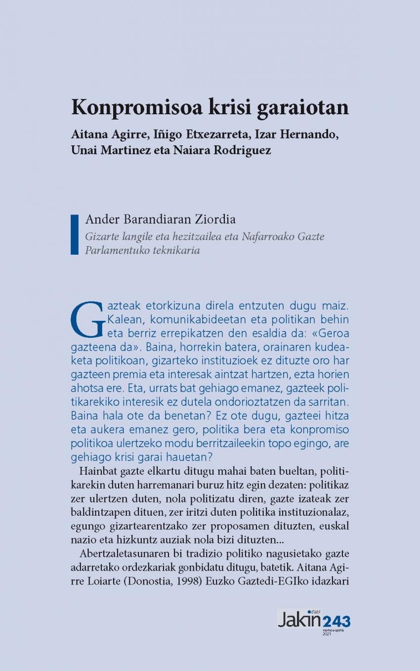 Konpromisoa krisi garaiotan. Aitana Agirre, Iñigo Etxezarreta, Izar Hernando, Unai Martinez eta Naiara Rodriguez