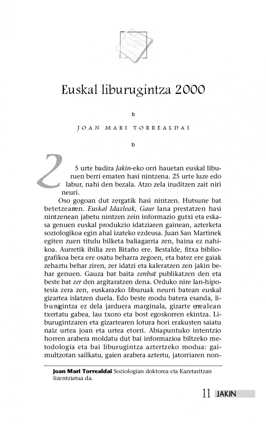 Euskal liburugintza 2000