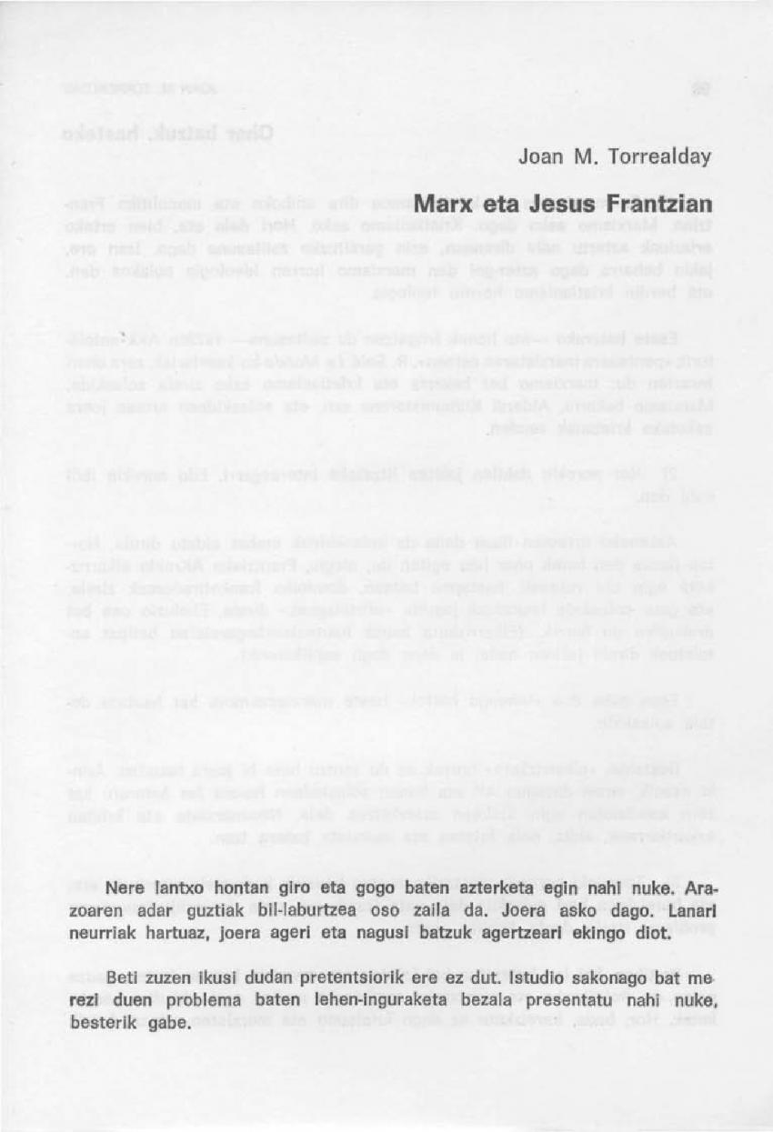 Marx eta Jesus Frantzian