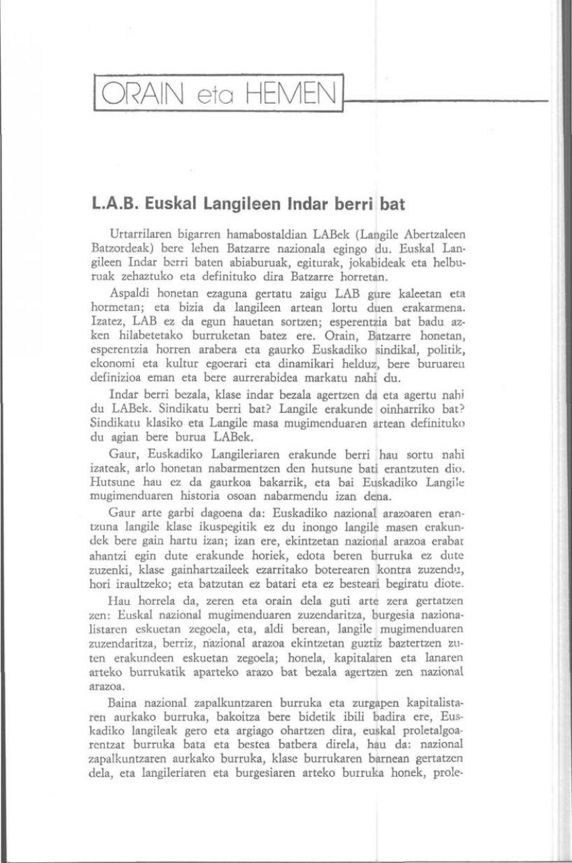 L.A.B. Euskal Langileen Indar berri bat (Orain eta Hemen)