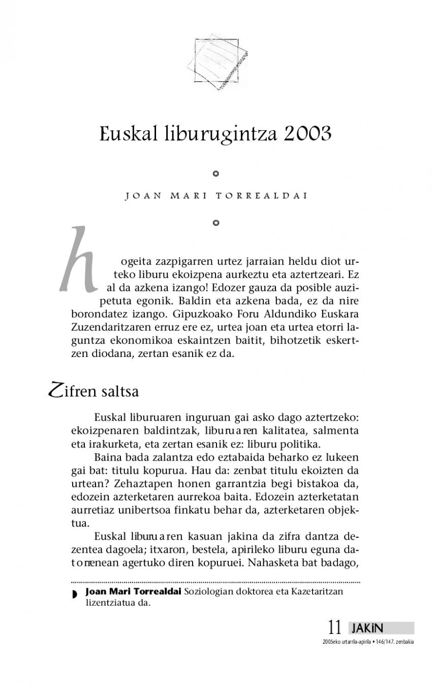Euskal liburugintza 2003