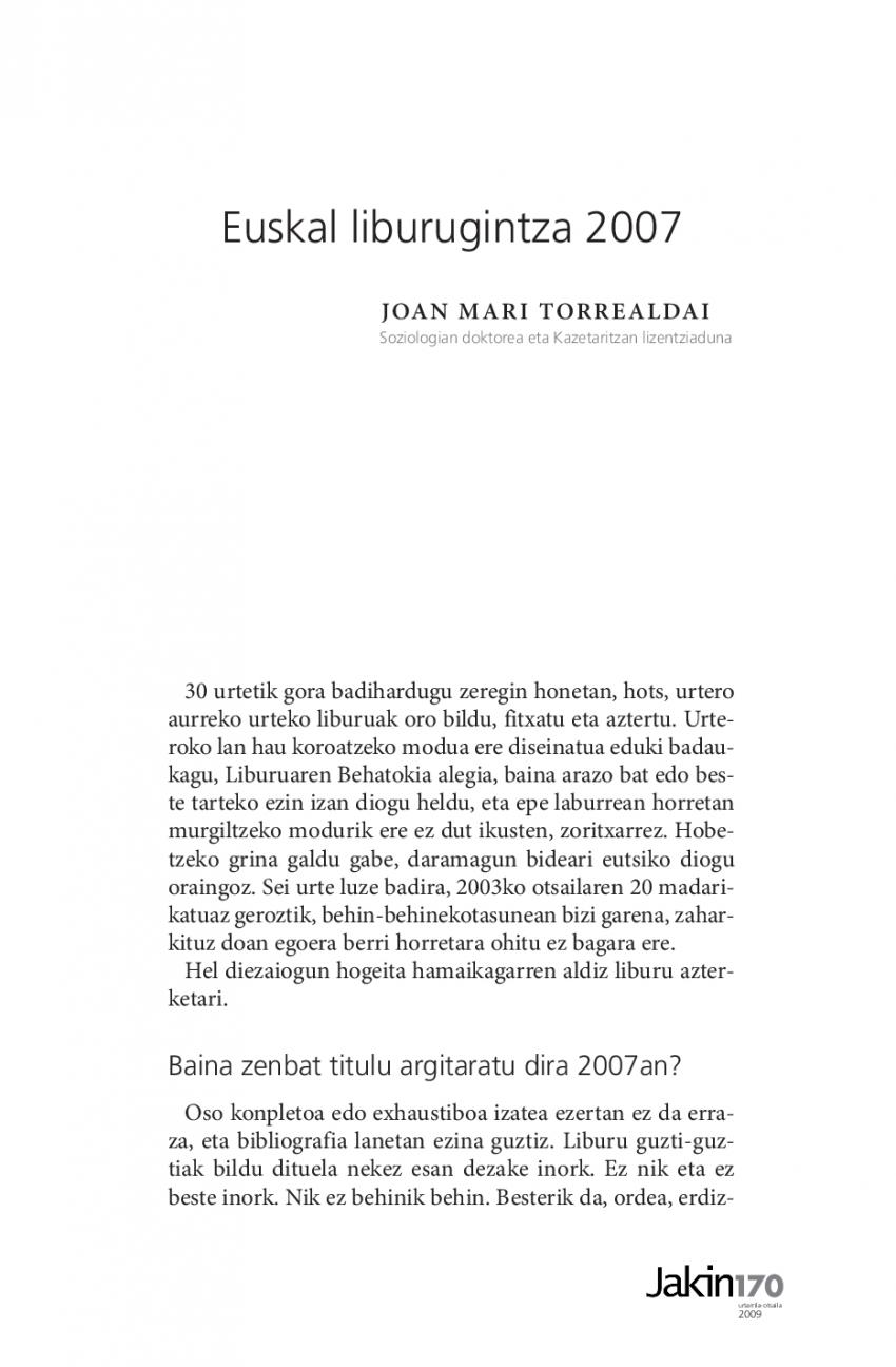 Euskal liburugintza 2007
