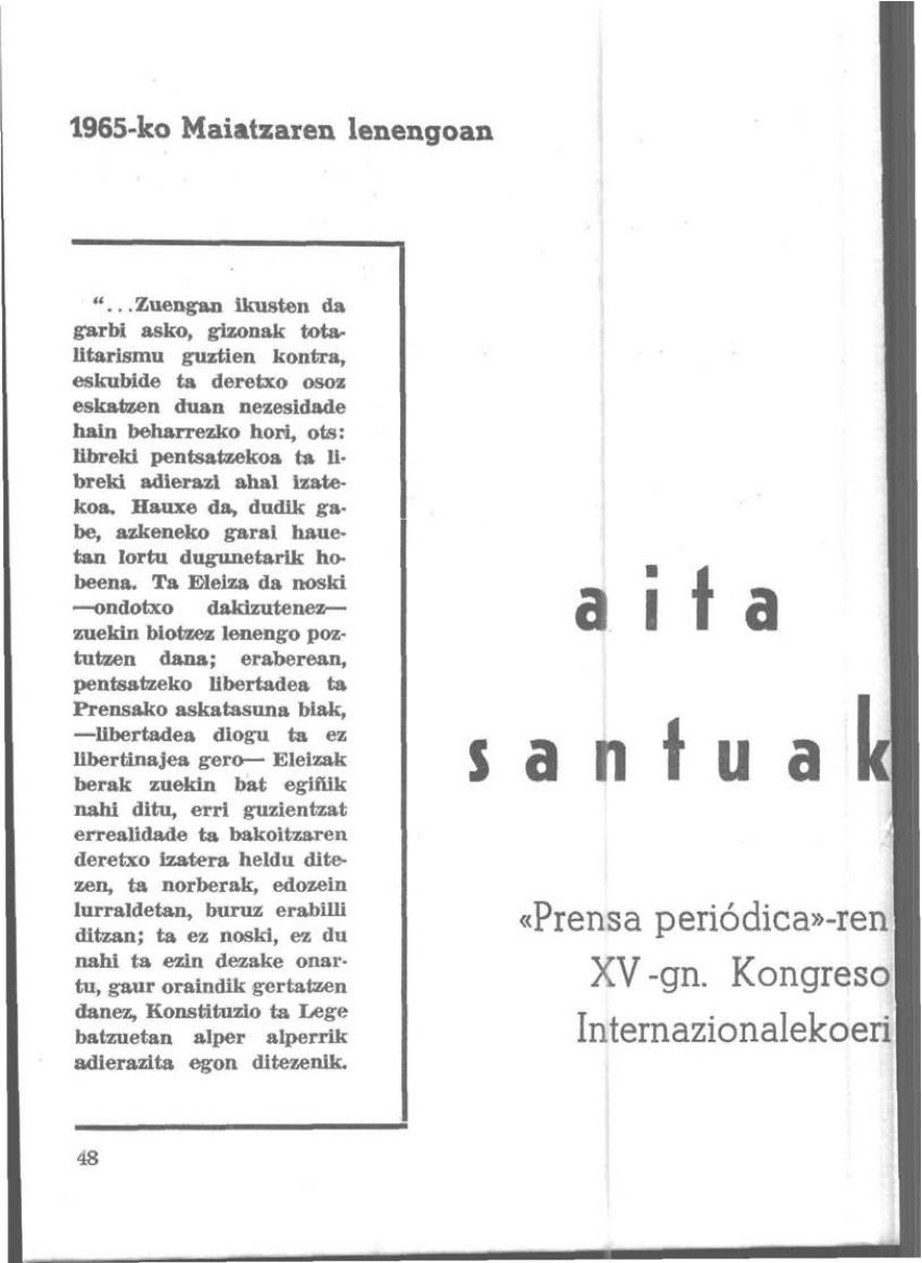 Aita Santuak: «Prensa periódica»-ren XV-gn. Kongreso Internazionalekoeri