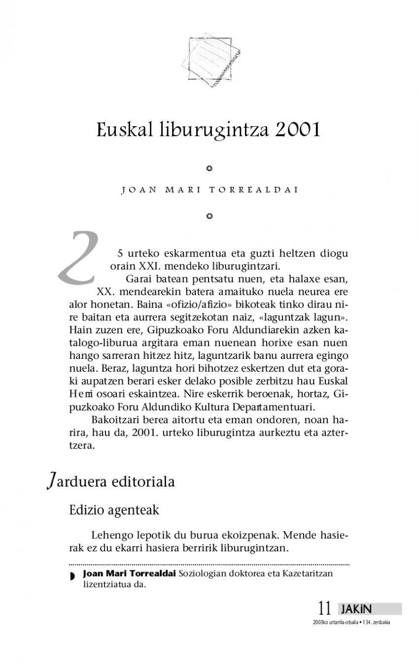 Euskal liburugintza 2001