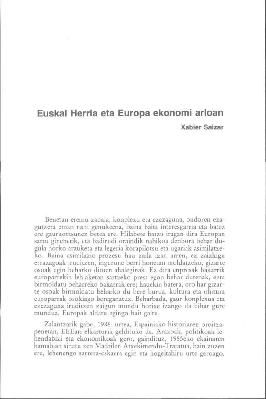 Euskal Herria eta Europa ekonomi arloan