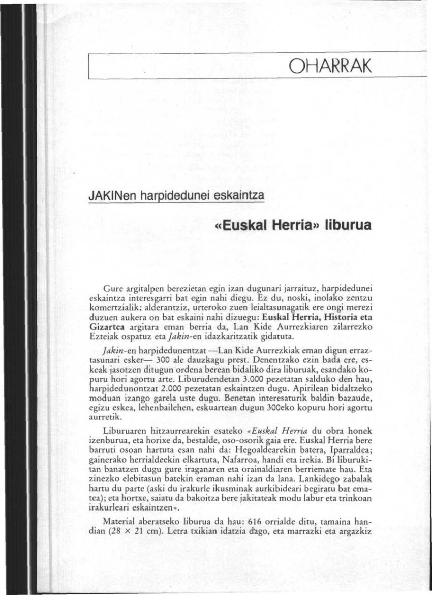 Harpidedunei eskaintza: «Euskal Herria» liburua