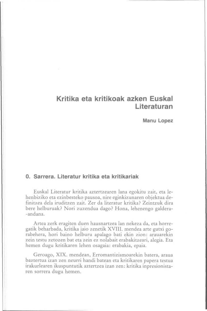 Kritika eta kritikoak azken Euskal Literaturan