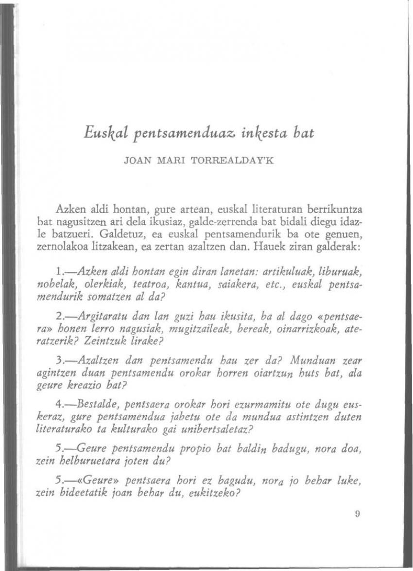Euskal pentsamenduaz inkesta bat