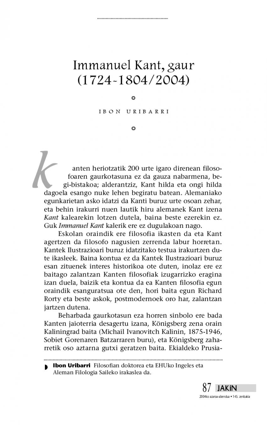 Immanuel Kant, gaur (1724-1804/2004)
